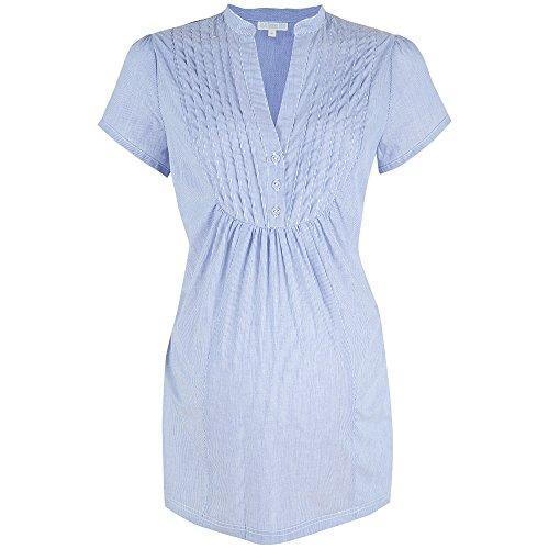 Madeline Cotton Maternity Shirt (Large, Blue White Stripe)
