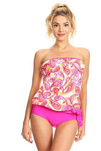 Dippin' Daisy's Pink Paisley Strapless Bandeau Blouson