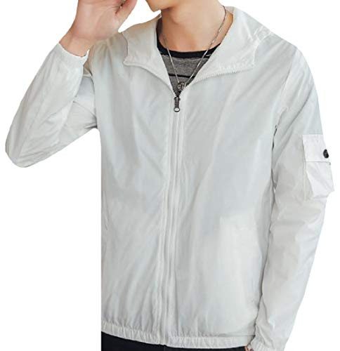 Men's Full Fashion Cargo Mogogo Regular Fit Zip White Jacket Windproof qSBxwd