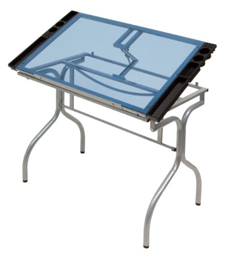 Studio Designs 13220 Folding Craft Station, Silver/Blue Glass by Studio Designs