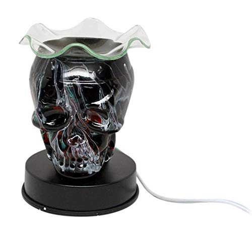 (L&V Glass Electric Touch Fragrance Lamp Oil Warmer Tart Burner Night Light Black Tie Dyed Skull Design)