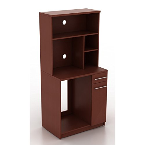 Break room cabinet with space for a coffee pot, refrigerator, and microwave (Crown Cherry) - Buy now and receive a free prep station. One week only sale! (Room Cabinets For Sale)