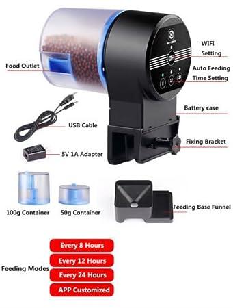 Dewin Alimentador de Peces - Alimentador de Peces automático del Acuario programable WiFi, dispensador automático de Alimentos para Peces, ...