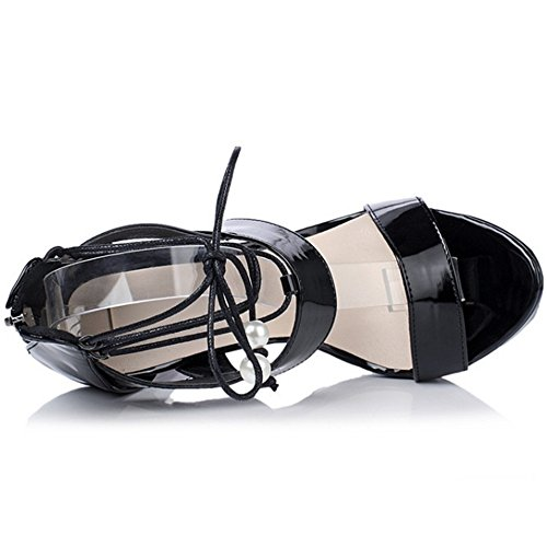 COOLCEPT Mujer Moda Cordones Sandalias Punta Abierta Tacon de Aguja Zapatos With Cremallera Negro
