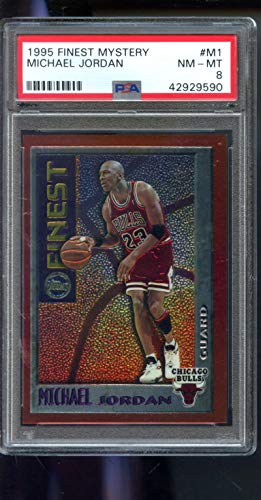 (1995-96 Topps Finest Mystery #M1 Michael Jordan Insert PSA 8 Graded NBA Basketball Card)