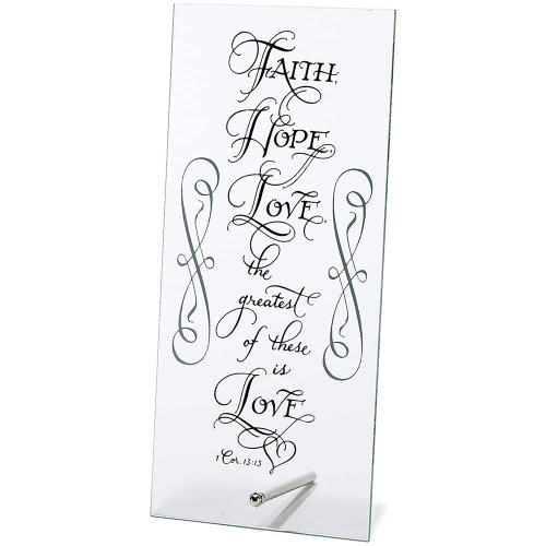Faith Hope Love 1 Corinthians 13:13 Black 5 x 10.5 Clear Glass Table Top Sign Plaque by Dicksons