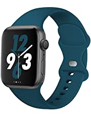 Acrbiutu Bands Compatible with Apple Watch 38mm 40mm 42mm 44mm, Replacement Soft Silicone Sport Accessory Strap Wristband for iWatch SE Series 6/5/4/3/2/1 Women Men
