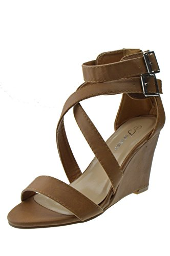 Per Sempre Stealth 57 Womens Strappy Open Toe Platform Wedge Tan