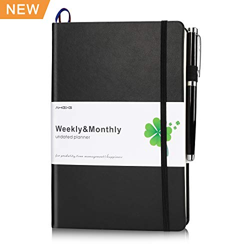 Weekly/Monthly Planner, AHGXG Best Weekly Pocket Planner Monthly Undated Planner,Weekly Agenda Planner for Productivity, Master&Goals with Premium Thick Paper, Pen Holder, Inner Pocket,5.7