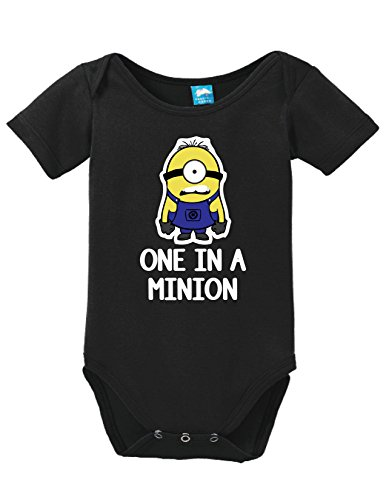 One in a Minion Printed Infant Bodysuit Baby Romper Black 0-3 Month (Minion Gru)