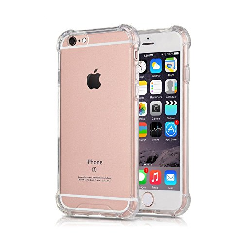 Szjjx Iphone 6 6S Clear Case Slim Soft Flexible Tpu Bumper Hard Case For Apple Iphone 6 6S Shock Absorbing Scratch Resistant Frame Cover Protector With Protective Caps 4 7 Inch