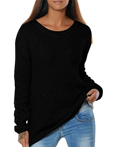 Womens Sweaters Pullover Long Sleeve Winter Soft Loose Ribbed Knit Sweater