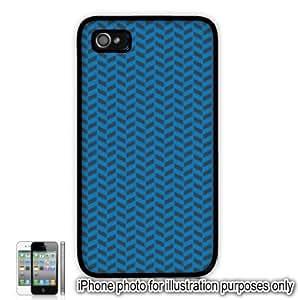 Blue Gray Grey Herringbone Print Pattern Apple iPhone 4 4S Case Cover Skin Black