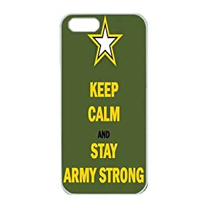 iPhone 5/5S Case,Fashion Durable White Side Diy design for Apple iPhone 5/5S(4.0 inch),PC material iPhone 5/5S Cover ,Safeguard Phone from Damage ,Designed Specially Pattern from our Life with Quotes,Keep Calm And Stay Army Strong. by Maris's Diary