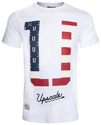 UPSCALE Mens American Flag Graphic Tee WHITE L