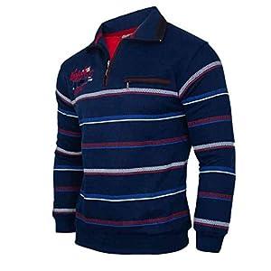 Soltice Sweat-Shirt à Manches Longues avec col pour Homme en Coton mélangé (M à 3XL)