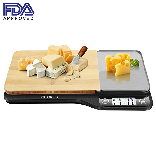 Food Scale with Removable Cutting Board & Tray - 3 in 1 Digital Kitchen Scale, LCD Display, 11lb 5kg, Easy for Cooking & Clean by Nutrifit (Measuring spoons & Batteries Included)