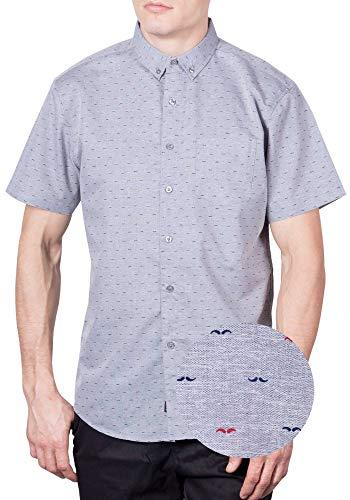 Visive Mens Hawaiian Shirt Short Sleeve Button Down Shirts (Grey Mustache,Medium)