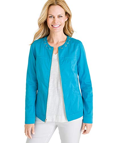 Chico's Women's Twill Grommet-Detail Jacket Size 8/10 M (1) Blue