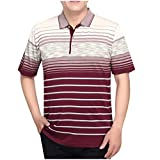 Men Summer Old Men's Shirts Father Tops Fashion High Qulity Striped Top Blouse Red
