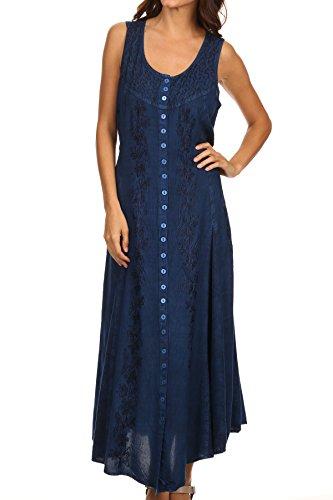 (Sakkas 15221 - Maya Floral Embroidered Sleeveless Button Up Rayon Dress - Blue - L/XL)