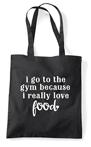 Tote To Bag Statement Food Love Black Shopper Really I Gym Go The Because z5qnn14p