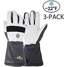 Vgo…High Dexterity Touchscreen Goatskin Ski ,Winter Gloves, Waterproof (3Pairs,M-XL)