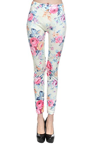 Pink Queen® Elengant Womens Peony Floral Print Work Out Leggings Pantyhose Pants
