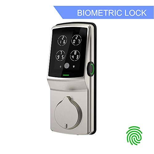 Lockly Bluetooth Keyless Entry Smart Door Lock (PGD728F SN) Patented Keypad Deadbolt Lock | Advanced 3D Fingerprint Reader | iOS and Android Compatible (SatinNickel) (Best Fingerprint Lock For Android)