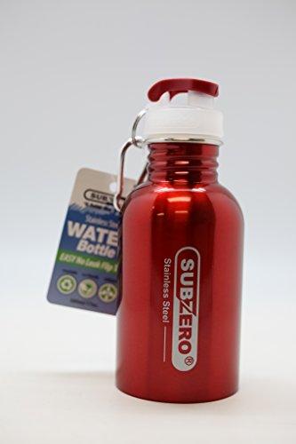 RED-SUBZERO-STAINLESS-STEEL-WATER-BOTTLE-EASY-NO-LEAK-FLIP-TOP-170Z