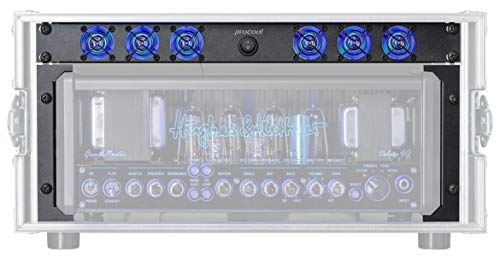 Hughes Guitar Amplifier - PROCOOL HK640B-RM40 / 1U Rack Mount Intake LED Fan designed for Hughes & Kettner Grandmeister and Tubemeister Guitar Amps - Includes RM-40 Rack Mounts for the Grandmeister