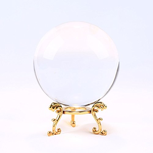 Fortune Teller Costume Crystal Ball (Clear Crystal Ball with Stand YWHL(3inch)K9 Magic Photography Meditation Fortune teller crystal ball-Home decoration)