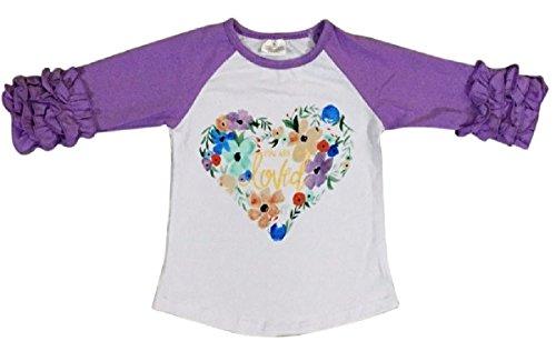 Big Girl Kids Floral Heart Loved Ruffle Cotton Shirt Top Tee T-Shirt White 7 XXL (317610)