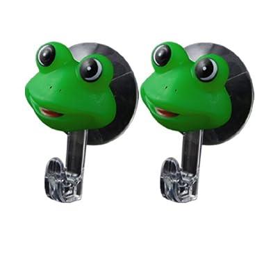 uxcell Cartoon Frog Design Wall Rack Hanger Pair Green