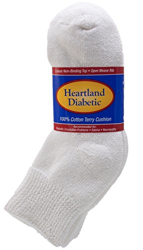 Diabetic socks,double cushion sole , 12 pair,Comfort top rib, 100% cotton terry lining (Medium 9-11) (Double Sole Sock)