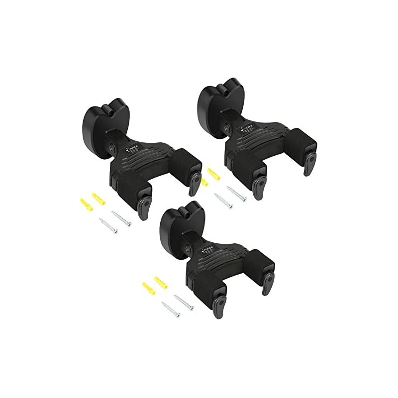 Donner 3-Pack Wall Guitar Mount Auto Lock Guitar Hanger For Guitar Bass Ukulele Violin Black