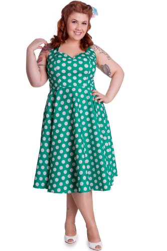 Hell-Bunny-Plus-Size-Easter-Green-and-White-Polka-Dot-Halter-Dress