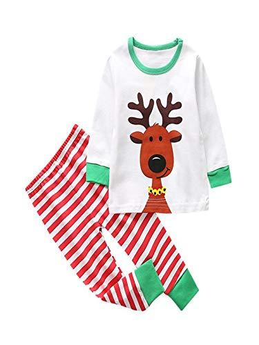 e1b853f9a9b69 Baby Girls&Boys Long Sleeve Pyjamas Set Toddler Cartoon Elk Tops+Striped  Pants Sleepwear Outfits(