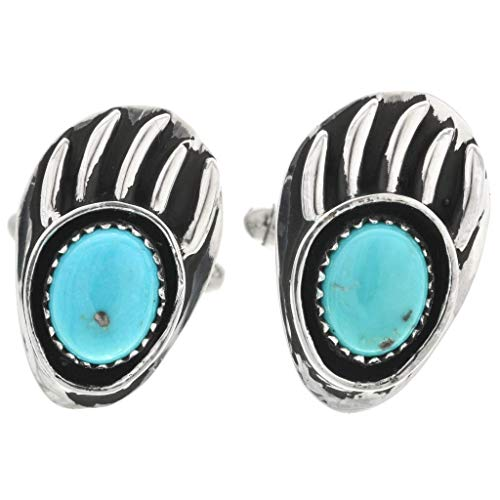- Turquoise Silver Bear Paw Cuff Links Navajo Traditional Sterling 0001