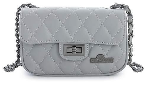 Light Ladies Womens Purse LIATALIA Grey Italian CAROL Bag Quilted Leather Small Party Evening Genuine Clutch Ogqdqw5