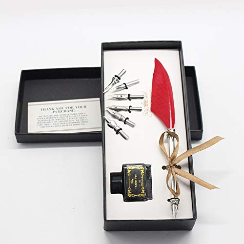 Antique Feather Quill Pen Set - Dip Pen with Black Ink and 6 Nibs - Stainless Steel Calligraphy Pen Nibs - Calligraphy Pen in Gift Box by Kunida Designs (6 Metallic Nibs) (Bright Red, 6 Nibs) ()