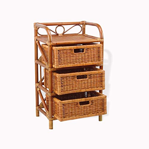 SunBear Furniture Natural Rattan Wicker Laundry Chest w/ 3 Drawers Storage - Chest Rattan Drawer 3