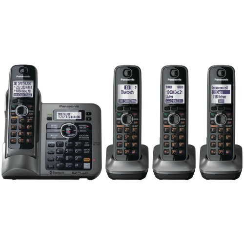 - Panasonic KX-TG7644M DECT 6.0 Link-to-Cell via Bluetooth Cordless Phone with Answering System, Metallic Gray, 4 Handsets