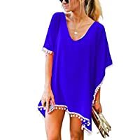 Garsumiss Women Chiffon Pompom Swimsuit Cover up Beach Bikini Stylish Bathing Suit