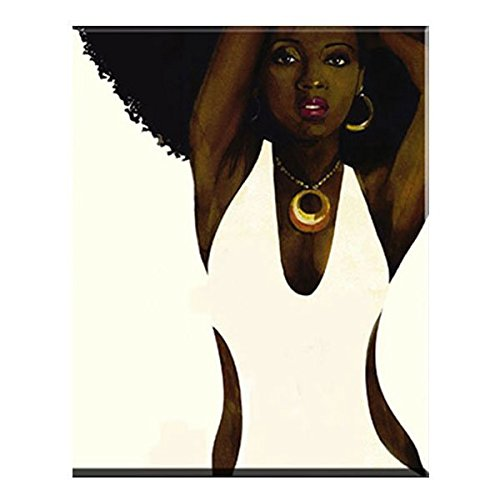(Faicai Art Black and White Wall Art African Afro Sexy Woman Canvas Prints HD Printed Abstract Portrait Printing Paintings Home Decor Art Work Pictures for Living Room Bedroom Wooden Framed 24x36inch)