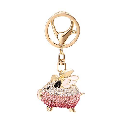 (Colorido Lovely Rhinestone Inlaid Flying Pig Shape Pendant Bag Pendant Charm Keychain Key Ring Holder Tote Bag Hanging Decoration Ornament Pink White)