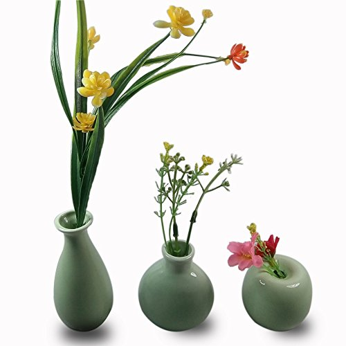 - CRH600 3 Mini Little Buddies Ceramic Bud Vases for Flowers, Plants Floral Decor, Vintage Collectible Vases, Vintage Porcelain (Light Green)