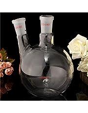 AOOF 1000ml 2 Neck 24/40 Flat Bottom Glass Flask Laboratory Boiling Bottle