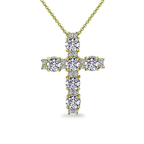 - GemStar USA Yellow Gold Flashed Sterling Silver Round-Cut Large Cross Necklace Made with Swarovski Zirconia