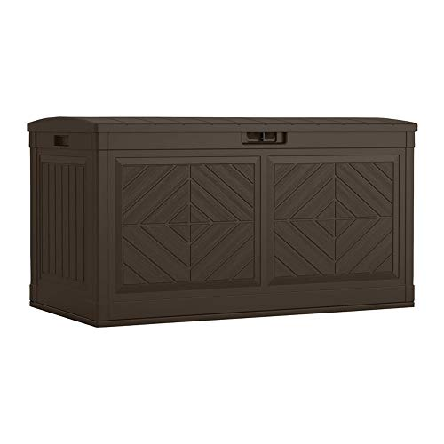 Suncast Baywood 80-Gallon Large Deck Box – Lightweight Resin Outdoor Storage Deck Box for Patio Cushions, Gardening Tools and Toys – Java Brown